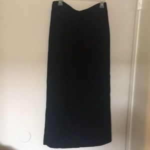 Long Black Skirt with Drawstring